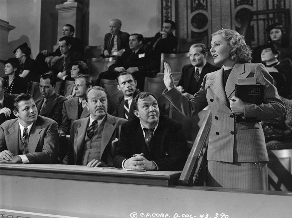 Mr. Smith goes to washington, Ms. Saunders, gespielt von Jean Arthur - und ist natürlich das Love Interest über den Sitzen